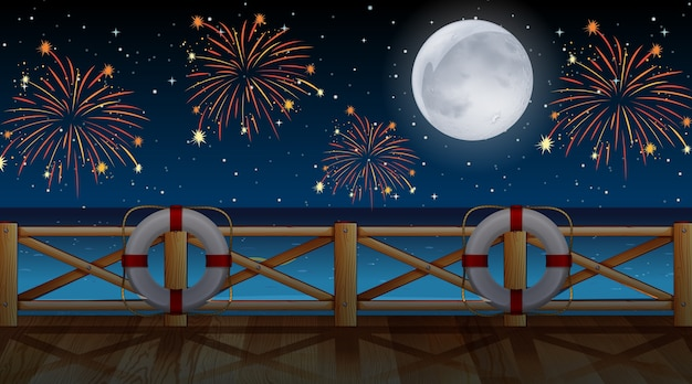 Vista al mar con fuegos artificiales de celebración