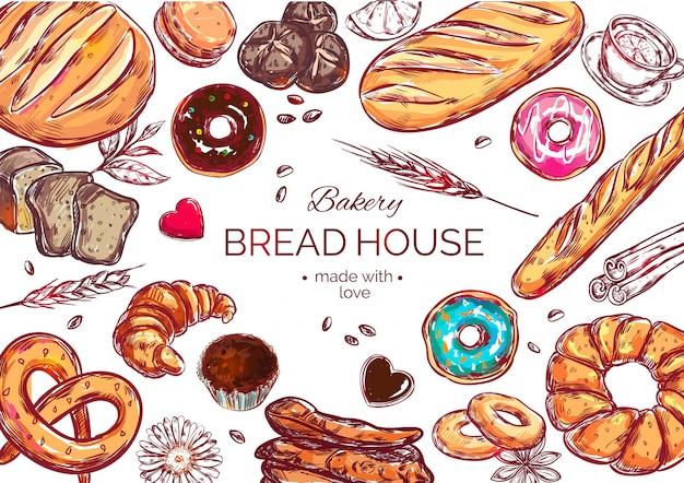 Vista de alimentos composición de pan