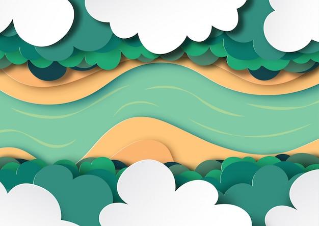 Vista arial del dosel del bosque, las nubes y el estilo de arte de papel de fondo del río