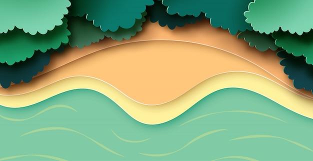 Vista arial del estilo de arte de papel de fondo de paisaje