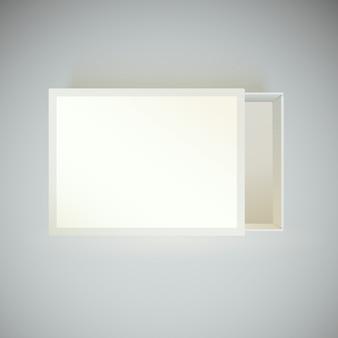 Vista de arriba hacia abajo. caja de cerillas con etiqueta en blanco.