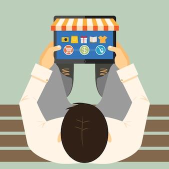 Vista desde arriba de un hombre en un banco haciendo compras en línea en una tableta con un escaparate y mercancía con una ilustración de vector de opciones de pago y entrega de carrito de compras