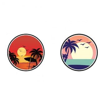 Vista del atardecer en la plantilla de logotipo de playa