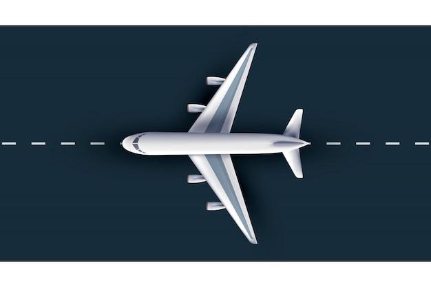 Vista del avión desde arriba, realista plano 3d. avión de pasajeros en la pista, avión de pasajeros 3d altamente detallado,