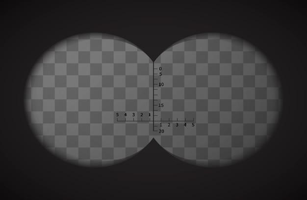 Vista desde los binoculares en fondo transparente