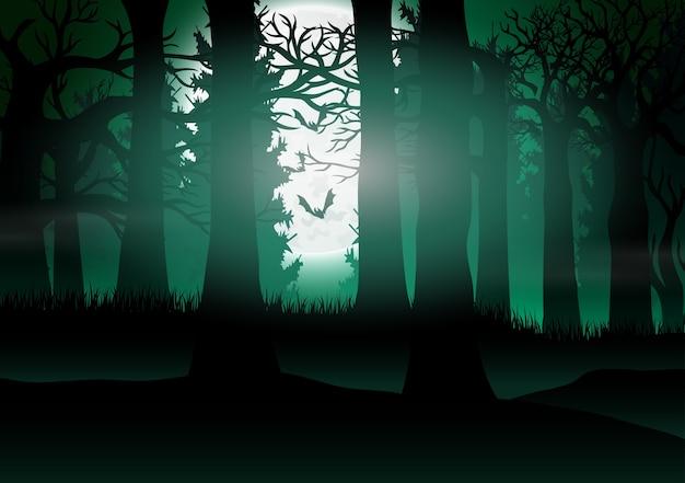 Vista del bosque con el fondo de la luz de la luna llena
