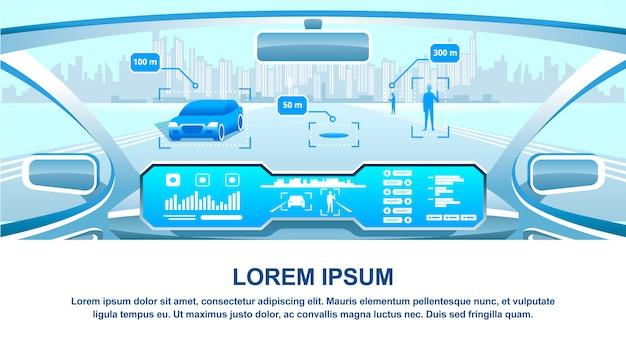 Vista de la cabina del vehículo inteligente