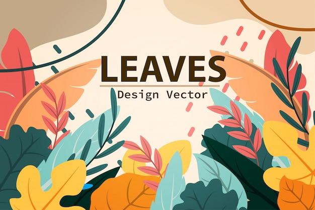 Vista cálida deja diseño de marco tropical de otoño