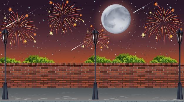 Vista a la calle con escena de fuegos artificiales de celebración