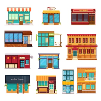 Vista de la calle frente snack bar café cafetería restaurante bistro restaurante iconos planos colección aislado