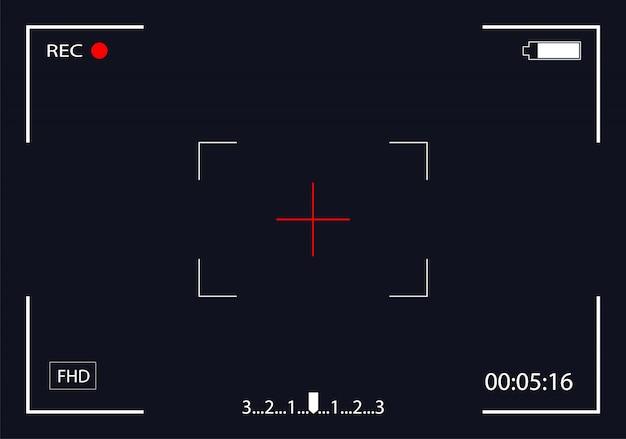 Vista de cámara. pantalla de enfoque de grabación de video. visor de marco de cámara. pantalla de video.