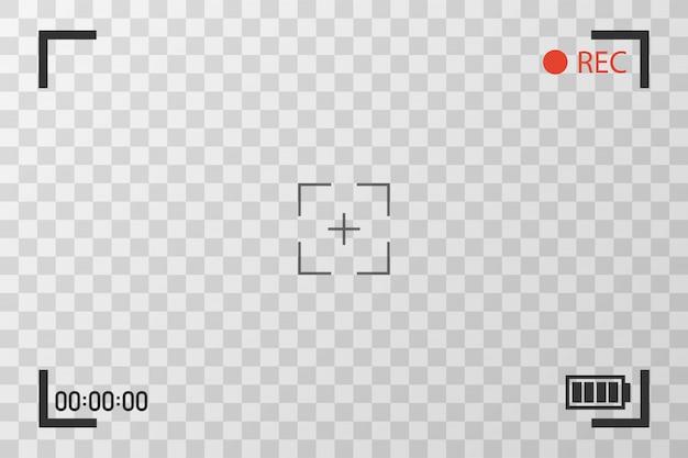 Vista de cámara para ver imágenes. enfoque de pantalla visual. pantalla de grabación de video en transparente.