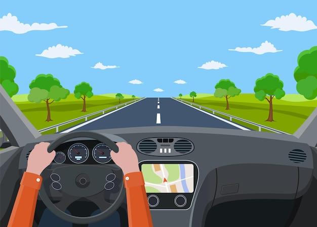Vista de la carretera desde el interior del coche.