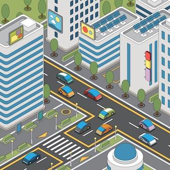 Vista de la ciudad moderna con automóviles en movimiento, paneles solares e ilustración de edificios altos