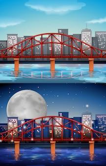 Vista de la ciudad con puente en día y noche.
