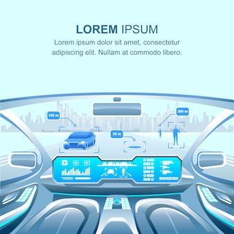 Vista sin conductor de coche moderno