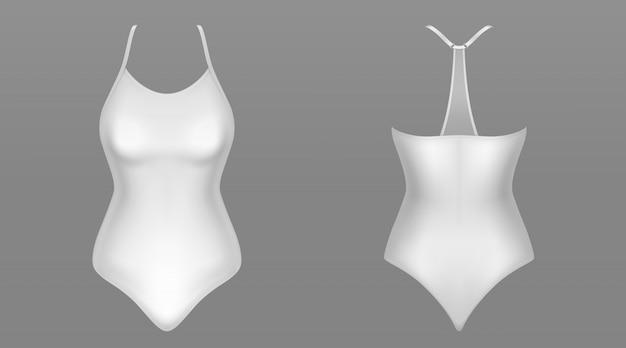 Vista delantera y trasera del traje de baño de una pieza para mujer