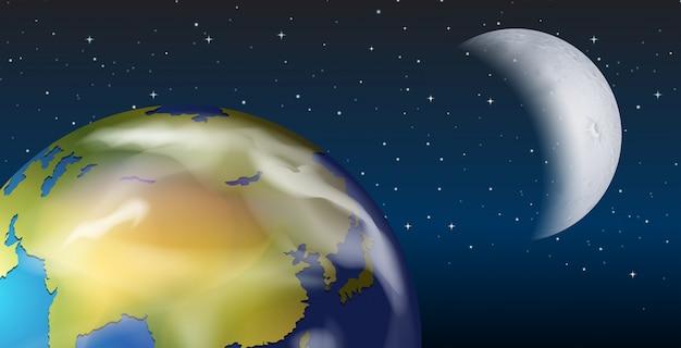 Una vista espacial de la tierra y la luna.