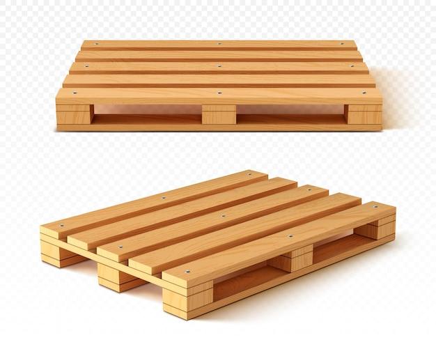 Vista frontal y en ángulo de palet de madera
