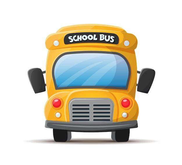 Vista frontal del autobús escolar amarillo estilo de dibujos animados plano de vector aislado sobre fondo blanco