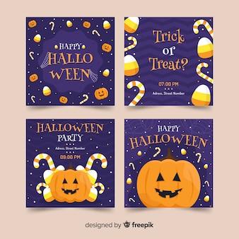 Vista frontal de calabaza colección de historias de instagram de halloween