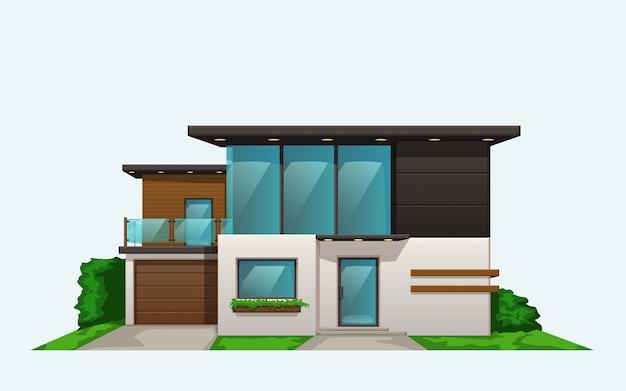 Vista frontal de la casa moderna en blanco