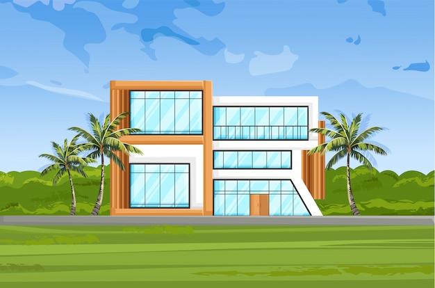 Vista frontal de la casa moderna