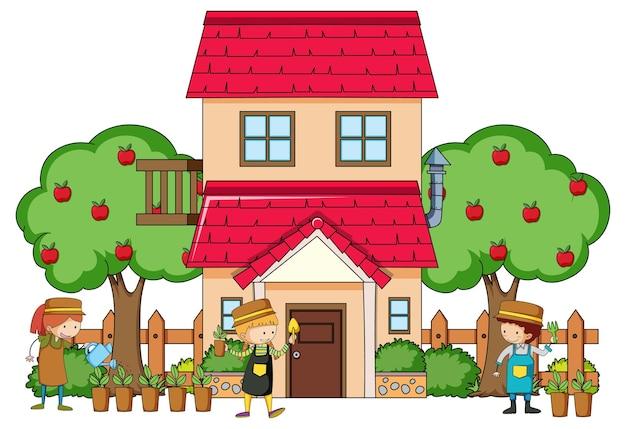 Vista frontal de una casa con muchos niños en blanco