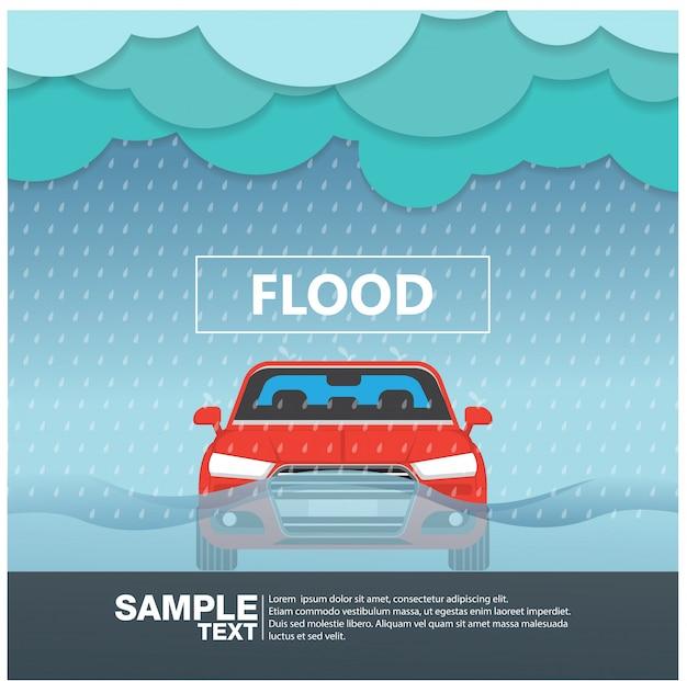 Vista frontal del coche en una estación lluviosa de inundaciones ilustración vectorial