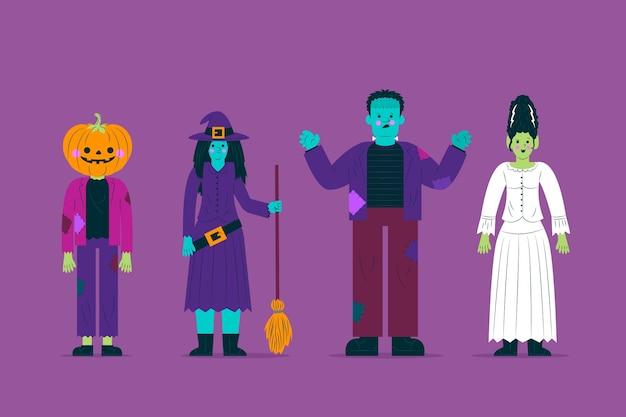 Vista frontal colección de personajes de disfraces de halloween