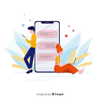 Vista frontal del concepto de aplicación de citas