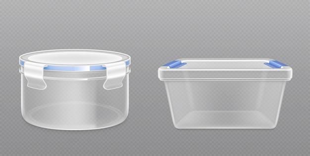 Vista frontal del cubo de plástico vacío transparente