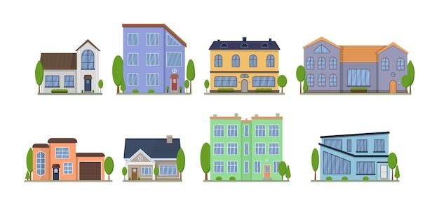 Vista frontal de diseño plano exterior de casas suburbanas americanas con techo y algunos árboles. apartamento en una casa adosada.