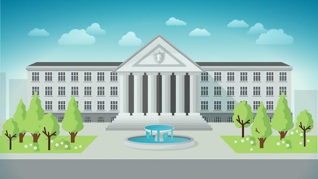 Vista frontal del edificio de la universidad en estilo plano