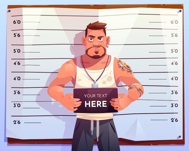 Vista frontal de ficha policial criminal en escala de medición
