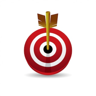 Vista frontal del icono de vector 3d de bullseye
