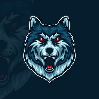 Vista frontal de la ilustración de la mascota de esport de cabeza de lobo enojado