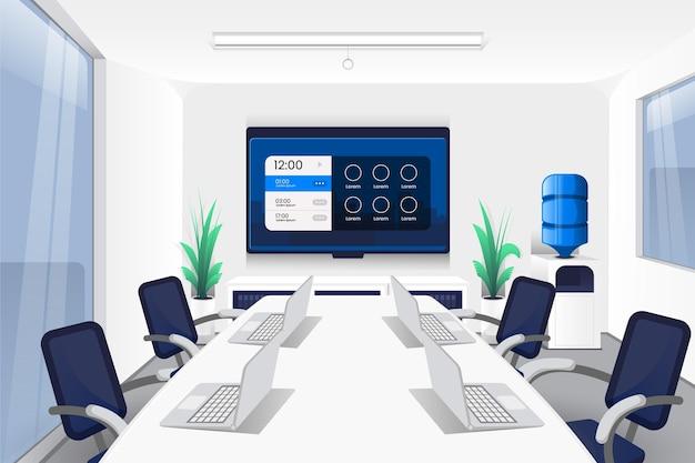 Vista frontal larga mesa para fondo de videoconferencia de oficina