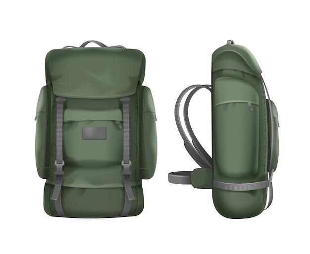 Vista frontal y lateral de la mochila de viaje verde grande del vector aislada en el fondo blanco