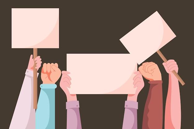Vista frontal manos sosteniendo pancartas