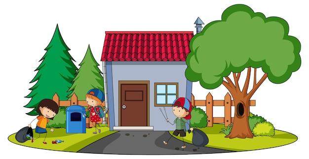 Vista frontal de la mini casa con muchos niños en blanco