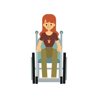 Vista frontal de una mujer discapacitada en una ilustración de silla de ruedas.