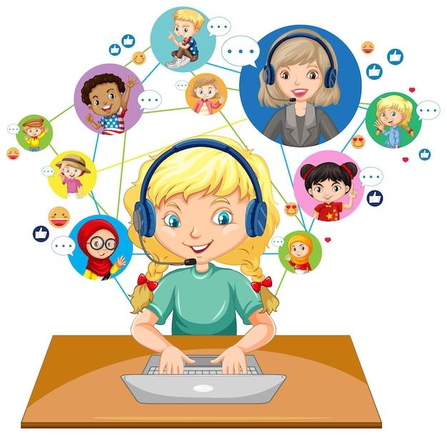 Vista frontal de una niña usando una computadora portátil para comunicarse por videoconferencia con el maestro y amigos sobre fondo blanco.