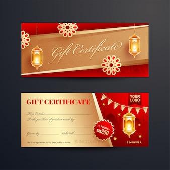 Vista frontal y posterior del certificado de regalo o diseño de cupón con i