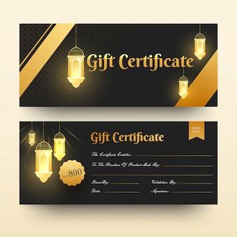 Vista frontal y posterior del certificado de regalo o plantilla horizontal d