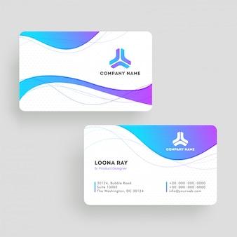 Vista frontal y posterior de la plantilla de tarjeta de visita o diseño de tarjeta de visita