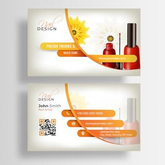 Vista frontal y posterior de la plantilla de tarjeta de visita o tarjeta de visita de nail artist
