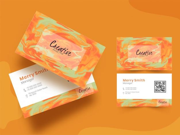 Vista frontal y posterior de la tarjeta de empresa o tarjeta de visita