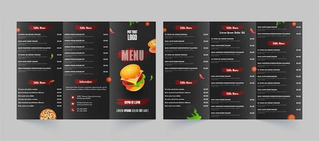 Vista frontal y posterior de la tarjeta de menú de comida rápida para restaurante y cafetería.