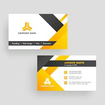 Vista frontal y posterior de la tarjeta de visita o diseño de la tarjeta de visita.